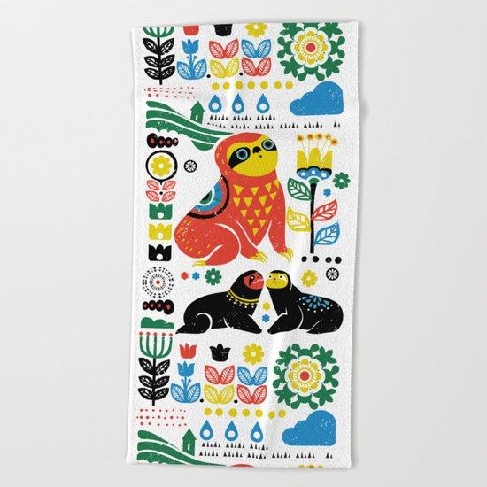Scandinavian Sloths Beach Towel
