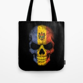 Dark Skull with Flag of Moldova Tote Bag