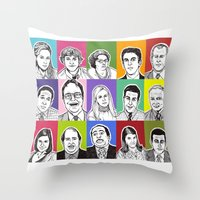 the office Throw Pillows featuring The Office by turddemon