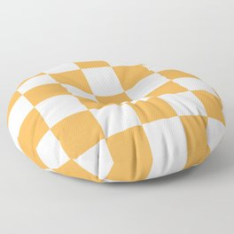 Large Light Orange Checkerboard Pattern Floor Pillow