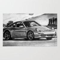 porsche Area & Throw Rugs featuring Porsche  by Marcela Caraballo