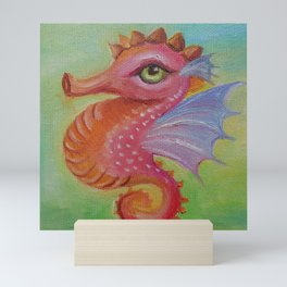 Baby Dragon Sea Horse Ice Cream color book illustration for kids Oil painting on canvas Pastel color Mini Art Print