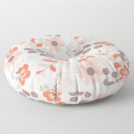 Pretty Pink and Orange Flowers Floor Pillow