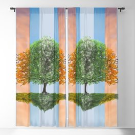 Digital painting of the seasons of the year in a tree Blackout Curtain