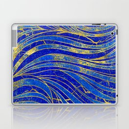 Lapis Lazuli and gold vaves pattern Laptop & iPad Skin