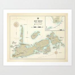 "Key West ""vintage inspired"" road map Art Print"