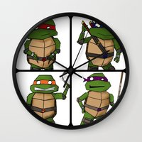 ninja turtle Wall Clocks featuring Teenage Mutant Ninja Turtle by Robbleeart