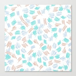 Modern pastel brown teal watercolor brushstrokes pattern Canvas Print