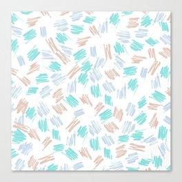 Modern pastel brown teal watercolor brushstrokes pattern Canvas Print