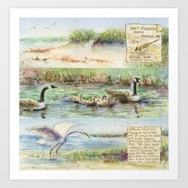 Birds by the Water Art Print