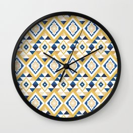 Gold Glitter and Navy Boho Aztec Wall Clock