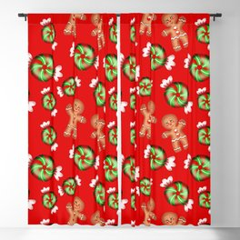 Lovely decorative seamless winter Christmas pattern. Happy jolly gingerbread men and sweet candy Blackout Curtain