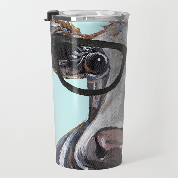 Cute Glasses Cow, Up close cow with glasses Travel Mug