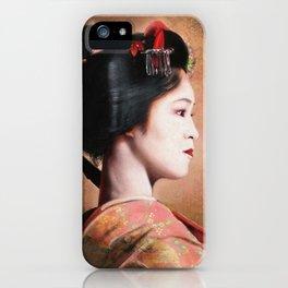 ' Beauty of Geisha ' - oriental japanese lady digital portrait painting iPhone Case