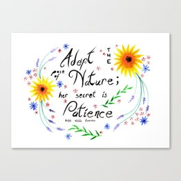 Pace of Nature Watercolor Typography with Flowers Canvas Print