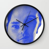 chad wys Wall Clocks featuring Bad Chad Head by Blake Makes Tees