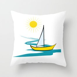 Single sailboat Throw Pillow