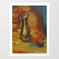 Still Life Vase and Flowers Art Print