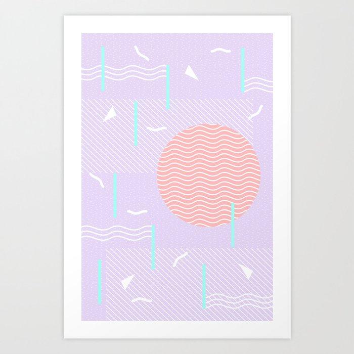 Memphis Summer Lavender Waves Kunstdrucke