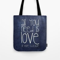 chocolate Tote Bags featuring CHOCOLATE by Monika Strigel