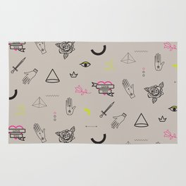 Tattoo doodles pattern Rug