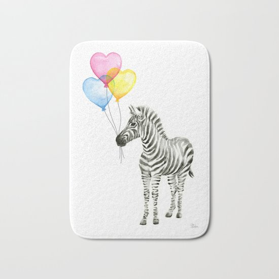 Zebra Watercolor With Heart Shaped Balloons Whimsical Baby Animals Bath Mat