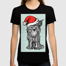Christmas Dog In Santa Clause Hat T-shirt