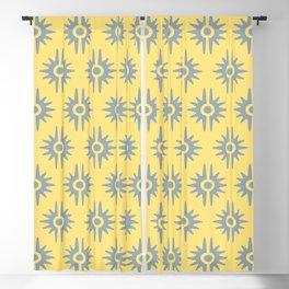 Mid Century Modern Bang Pattern 272 Grey Yellow Blackout Curtain