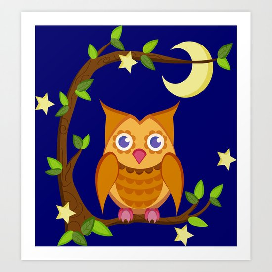 owl in the moonlight 3 Art Print
