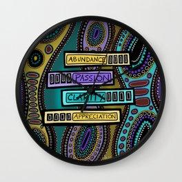 Clear Abundance Word Art Wall Clock