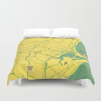 maps Duvet Covers featuring Maps - Durban by DRIEHOEK