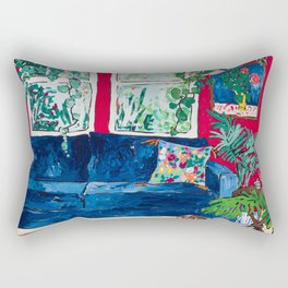 Red Interior with Borzoi Dog and House Plants Painting Rectangular Pillow