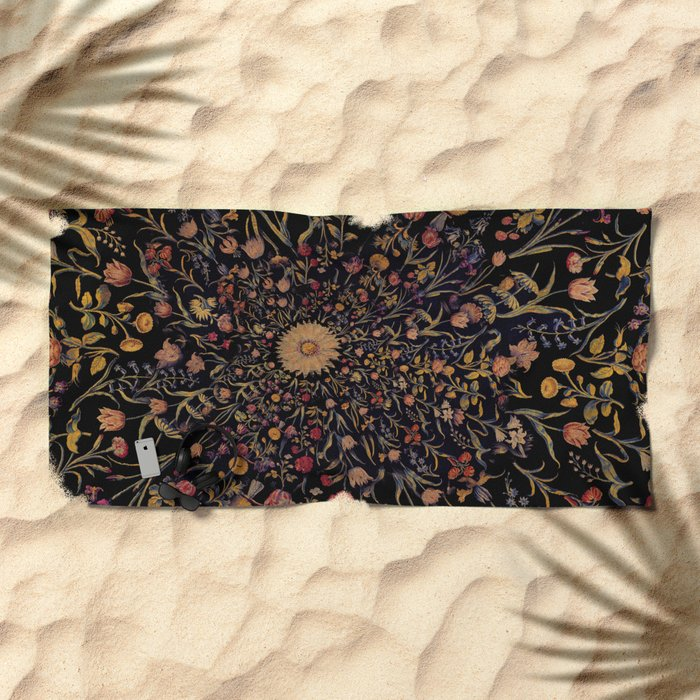 Medieval Flowers on Black Beach Towel