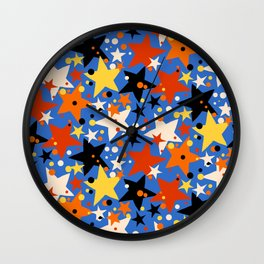 Fun ditsy print with bright colorful stars Wall Clock