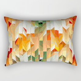 Geometric Tiled Orange Green Abstract Design Rectangular Pillow