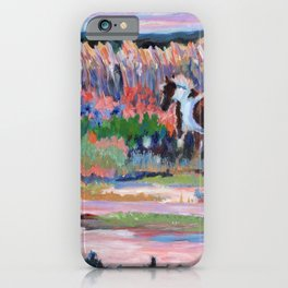 Chincoteague Pony, a colorful landscape of a wild horse in the dunes on the beach in Virginia. iPhone Case