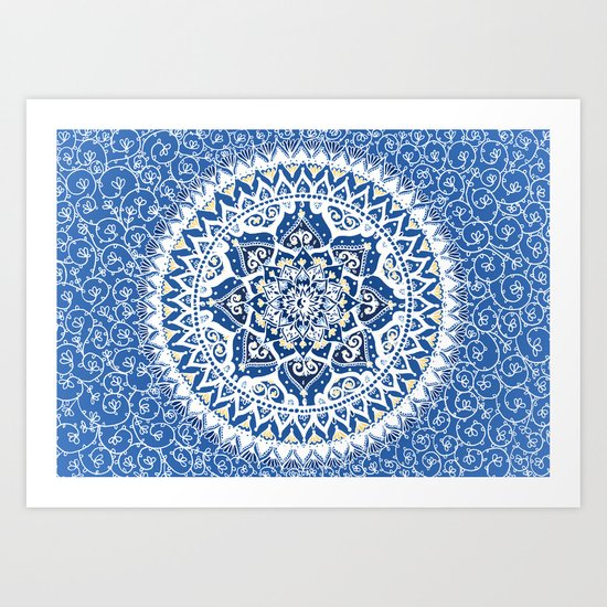 Yin Yang Mandala Pattern (Blue & Yellow) Art Print