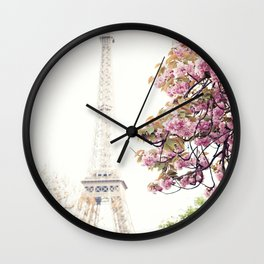 Cherry blossoms in Paris, Eiffel Towerr Wall Clock