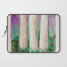 Colorful Birch Tree Watercolor Painting Laptop Sleeve