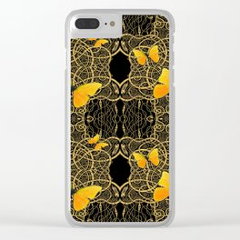 Yellow Mariposas (Butterfly) Celtic Gold & black Art Clear iPhone Case