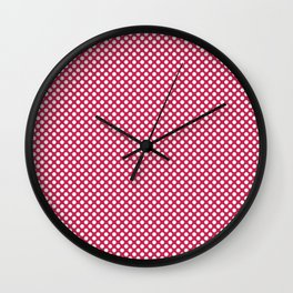 Rose Red and White Polka Dots Wall Clock