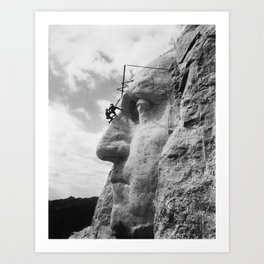Mt. Rushmore Under Construction - Washington Sculpture Art Print