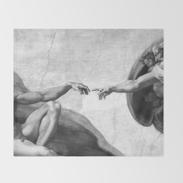 Black and White Creation of Adam Painting by Michelangelo Sistine Chapel Throw Blanket