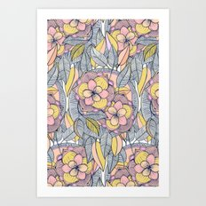 Pink and Peach Linework Floral Pattern Art Print