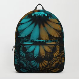 Shikoba Fractal -- Beautiful Leather, Feathers, and Turquoise Backpack