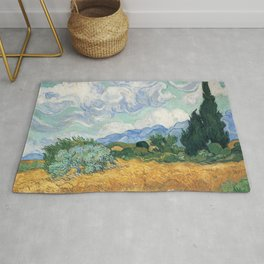 Van Gogh A Wheatfield With Cypresses Sept 1889 Rug