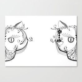 Mirror Cat / Yin Yang Cat Canvas Print