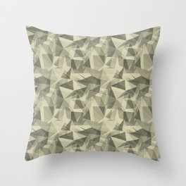 Abstract Geometrical Triangle Patterns 3 Natural Olive Green - Martinique Dawn - Asian Silk Throw Pillow