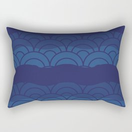 Oriental Blue Abstract Pattern with Lines and Waves Rectangular Pillow