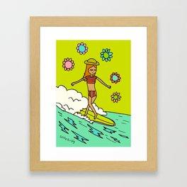 lady slider cross step // surfy birdy Framed Art Print
